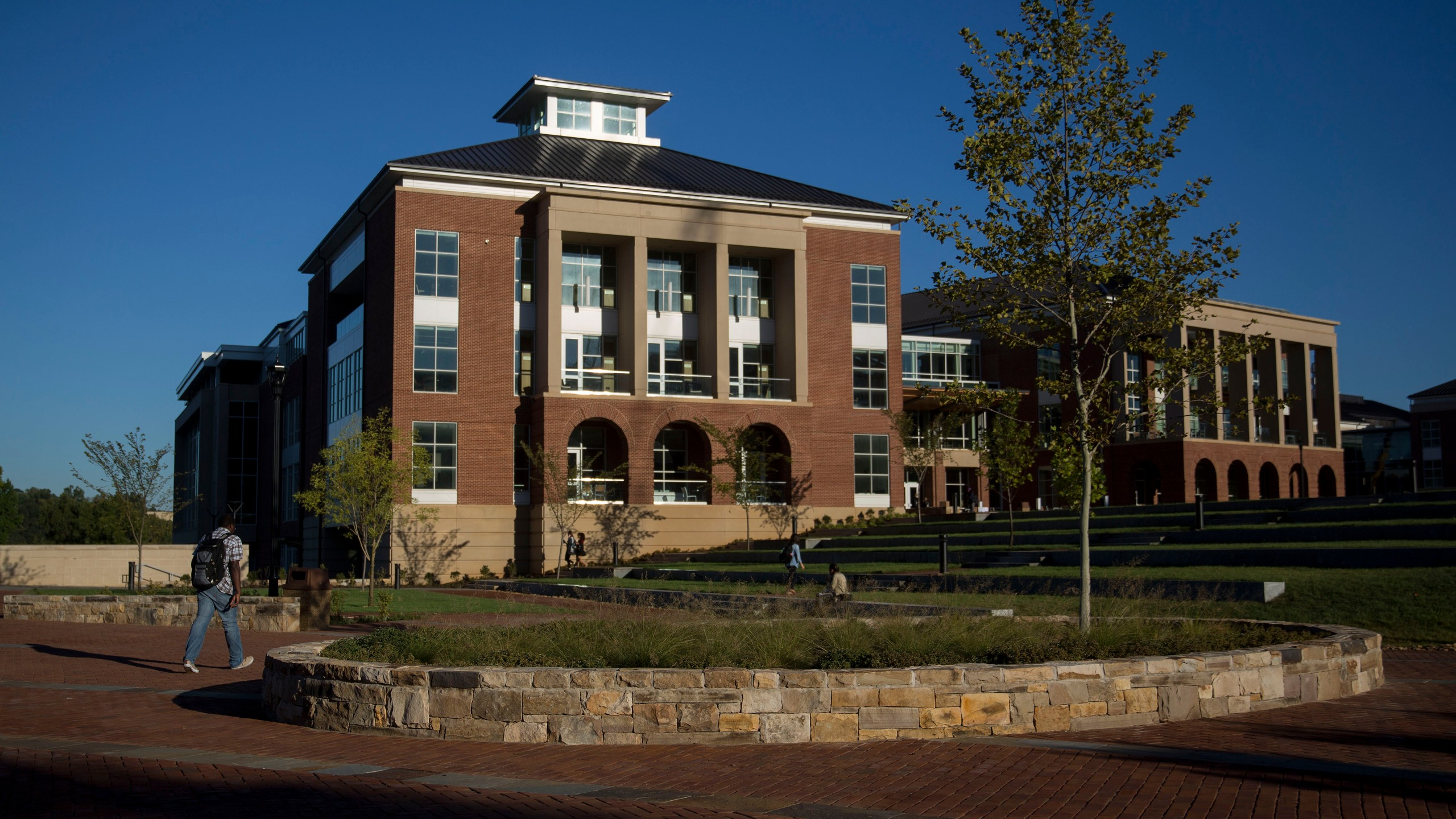 Jerry Falwell Library stands on the campus of Liberty University in Lynchburg, Virginia, U.S., on Monday, Sept. 14, 2015. Liberty University was founded by televangelist and reverend Jerry Falwell in 1971 as Lynchburg Baptist College. Photographer: Andrew Harrer/Bloomberg via Getty Images