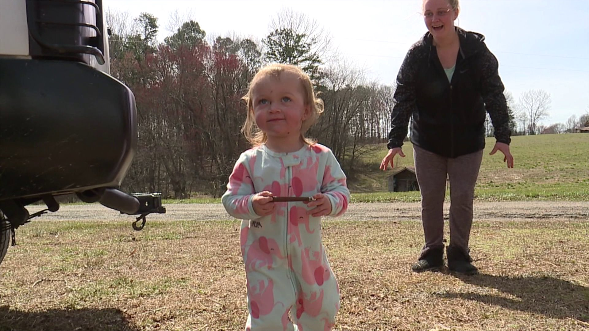 Mom recalls moment 2-year-old daughter was saved by Surry County first responders when a large tree fell and pinned her in bed