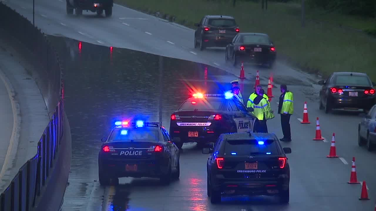 Flooding shuts down US 29 north at Gorrell Street in Greensboro