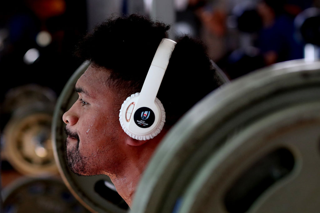 Ardie Savea of the All Blacks lifts weights during a New Zealand gym session at Gold's Gym on October 13, 2019 in Tokyo, Japan. (Photo by Hannah Peters/Getty Images)