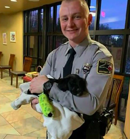 NC state trooper adopts puppy found at scene of crash (Jonathan Maybin)