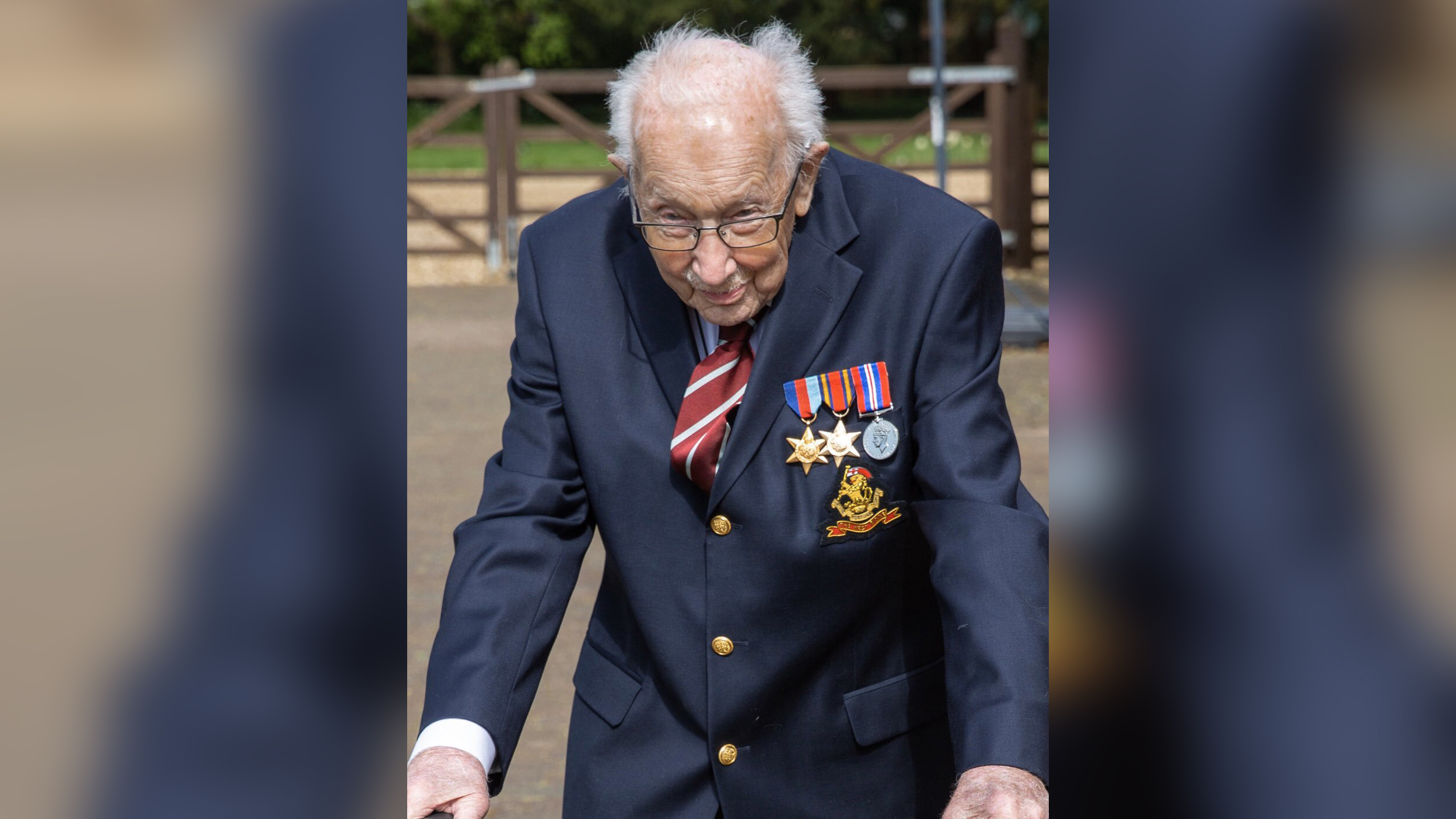 A 99-year-old British war veteran has raised more than £4.8 million ($6 million) for the country's National Health Service (NHS) as he aims to complete 100 laps of his garden, aided by a walking frame.