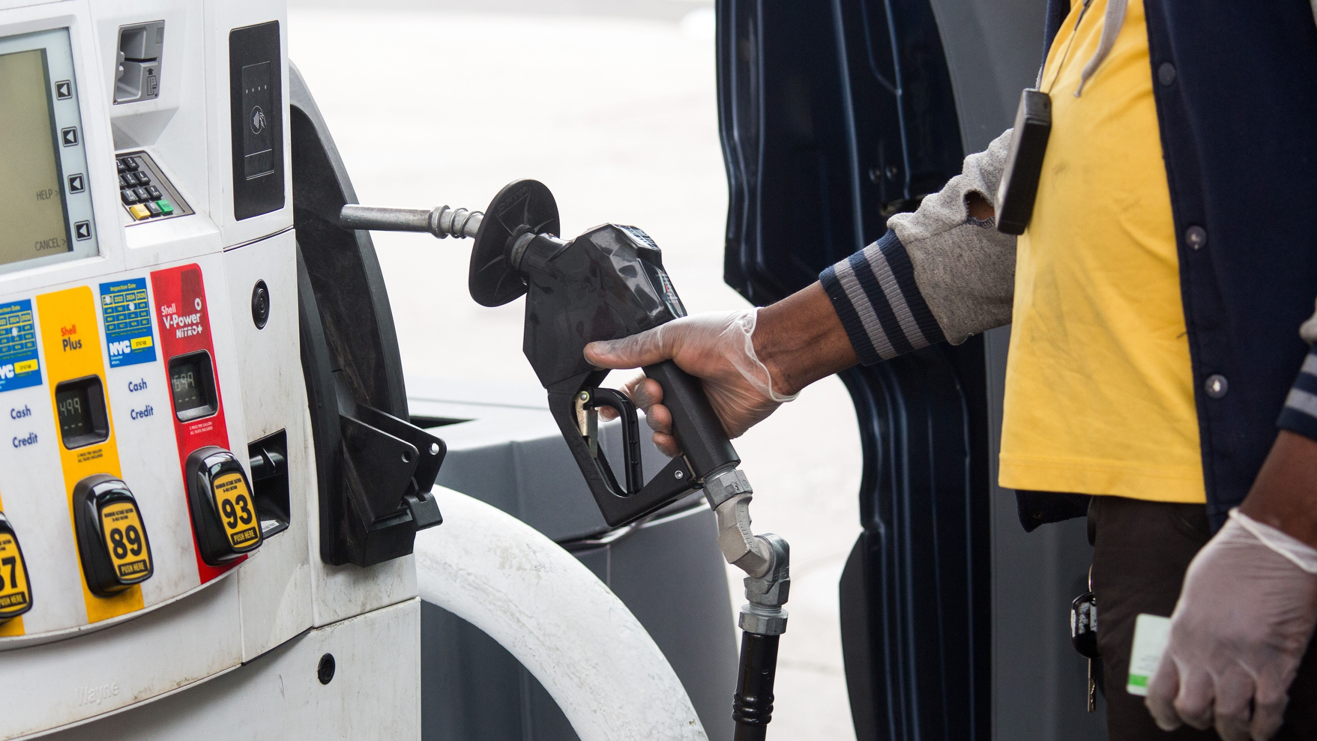 Even though a historic decline for oil sent prices negative on Monday, don't expect to get paid to fill up your gas tank any time soon. (Michael Nagle/Xinhua/Getty Images)