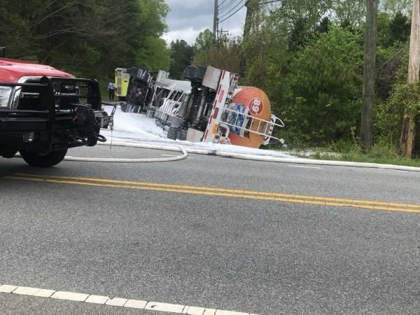 Tanker carrying ethanol overturns in Davidson County during crash