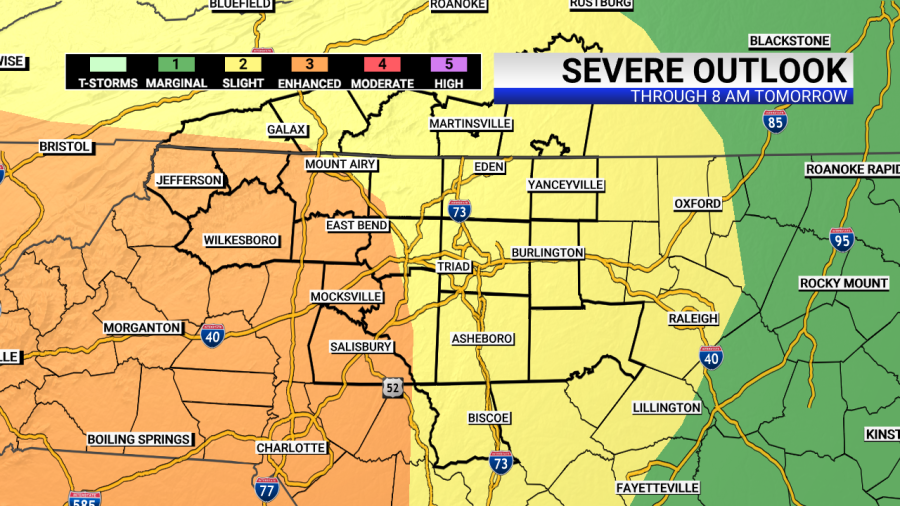 The western Piedmont is now under an enhanced risk for severe thunderstorms