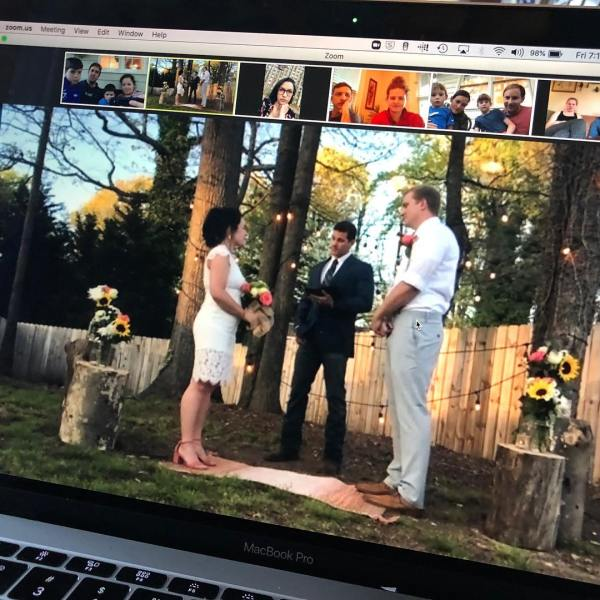 Guilford County EMS workers get married online (credit: Guilford County EMS)