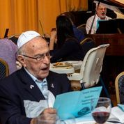2019, Hank participating in Community Passover Seder at Temple Emanuel (Photo credit: Ivan Saul Cutler)
