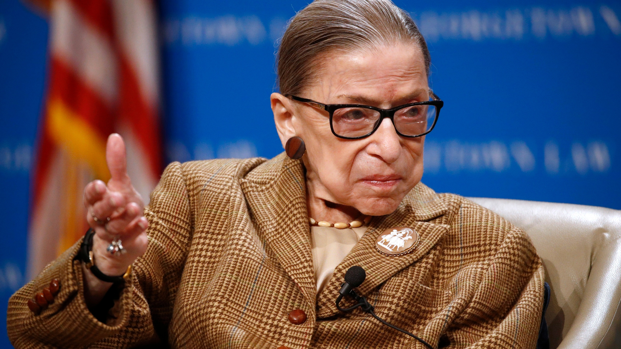 In this Feb. 10, 2020, file photo, U.S. Supreme Court Associate Justice Ruth Bader Ginsburg speaks during a discussion on the 100th anniversary of the ratification of the 19th Amendment at Georgetown University Law Center in Washington. The Supreme Court says Ginsburg has been hospitalized with an infection caused by a gallstone. The 87-year-old justice underwent non-surgical treatment Tuesday, May 5, for what the court described as acute cholecystitis, a benign gall bladder condition, at Johns Hopkins Hospital in Baltimore. (AP Photo/Patrick Semansky, File)
