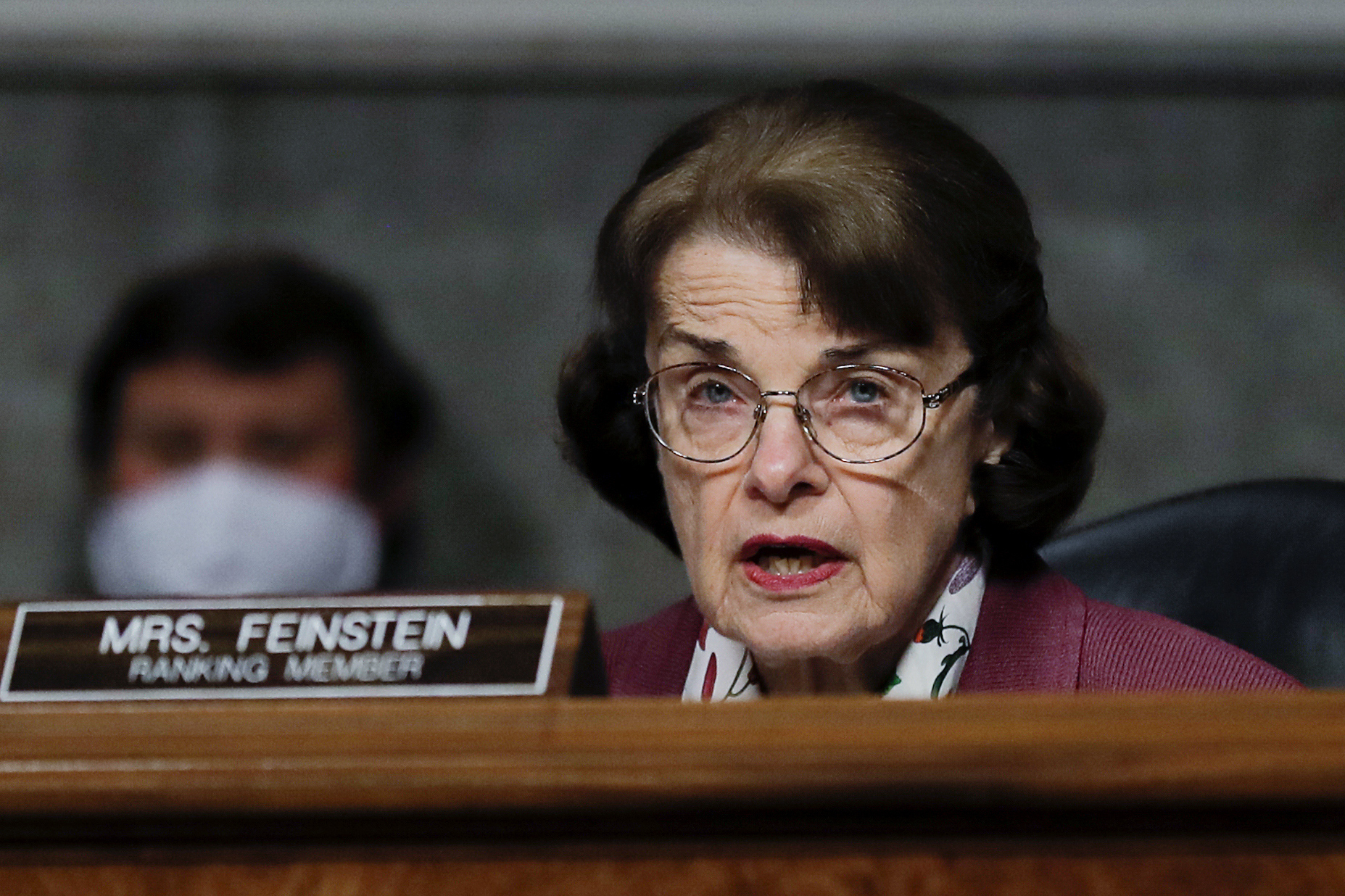 Sen. Dianne Feinstein, D-Calif., speaks during a Senate Judiciary Committee hearing examining liability during the coronavirus disease (COVID-19) outbreak, Tuesday, May 12, 2020 on Capitol Hill in Washington. (Carlos Barria/Pool via AP)