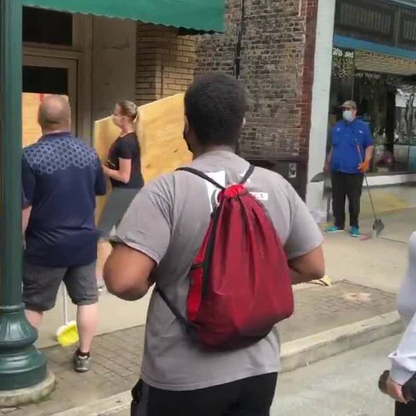 Cleanup begins in downtown Greensboro after violence overnight