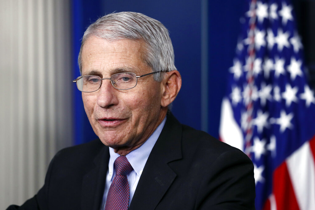 Dr. Anthony Fauci, director of the National Institute of Allergy and Infectious Diseases, speaks about the new coronavirus in the James Brady Press Briefing Room of the White House in Washington. (AP Photo/Alex Brandon, File)
