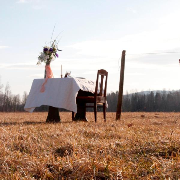 A Swedish restaurant's single table and chair is situated in a lush meadow. (Credit: Courtesy Linda Karlsson via CNN)