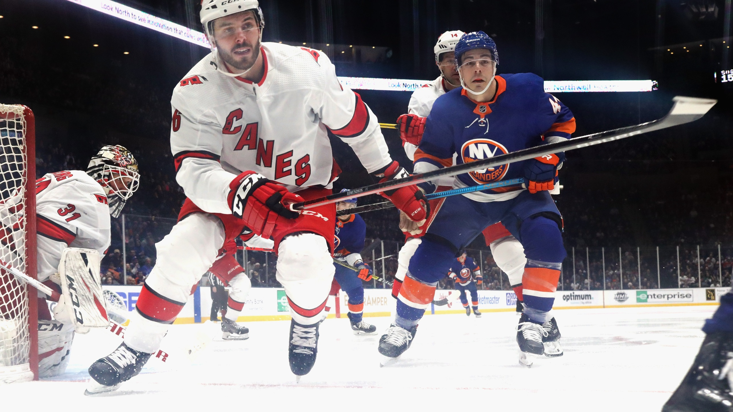 Joel Edmundson #6 of the Carolina Hurricanes skates against the New York Islanders at NYCB Live's Nassau Coliseum on March 07, 2020 in Uniondale, New York. (Photo by Bruce Bennett/Getty Images)