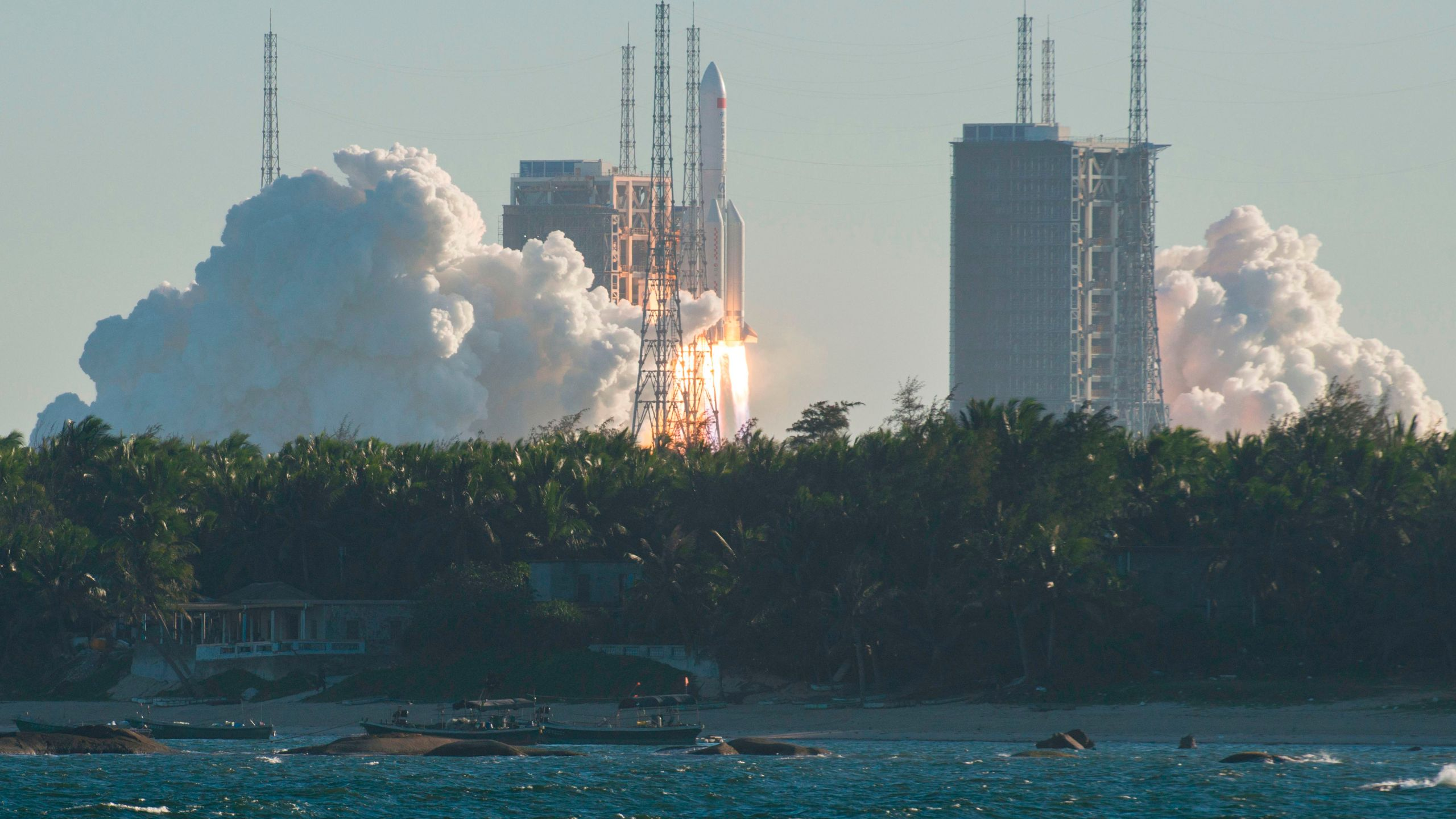 China launched its Long March-5B rocket with an unmanned prototype spacecraft on May 5. (Photo by STR/AFP via Getty Images)