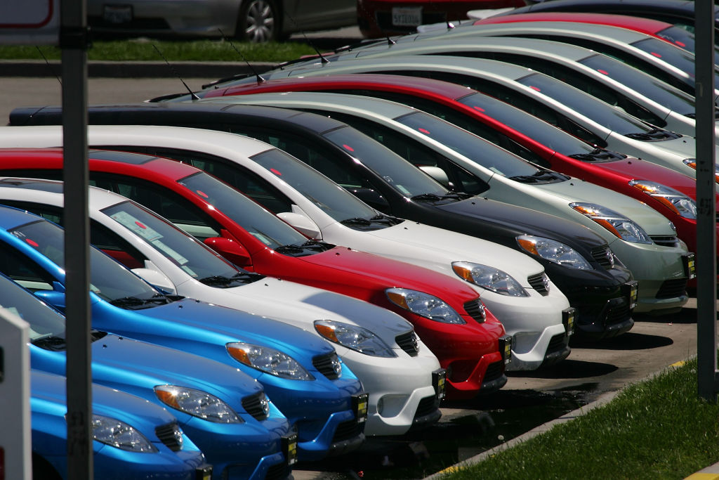 Rows of Toyotas are parked in a line at the world's largest auto dealership, Longo Toyota. (Photo by David McNew/Getty Images)