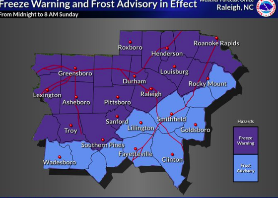 Freeze warning in effect across central NC on Mother's Day (NWS)