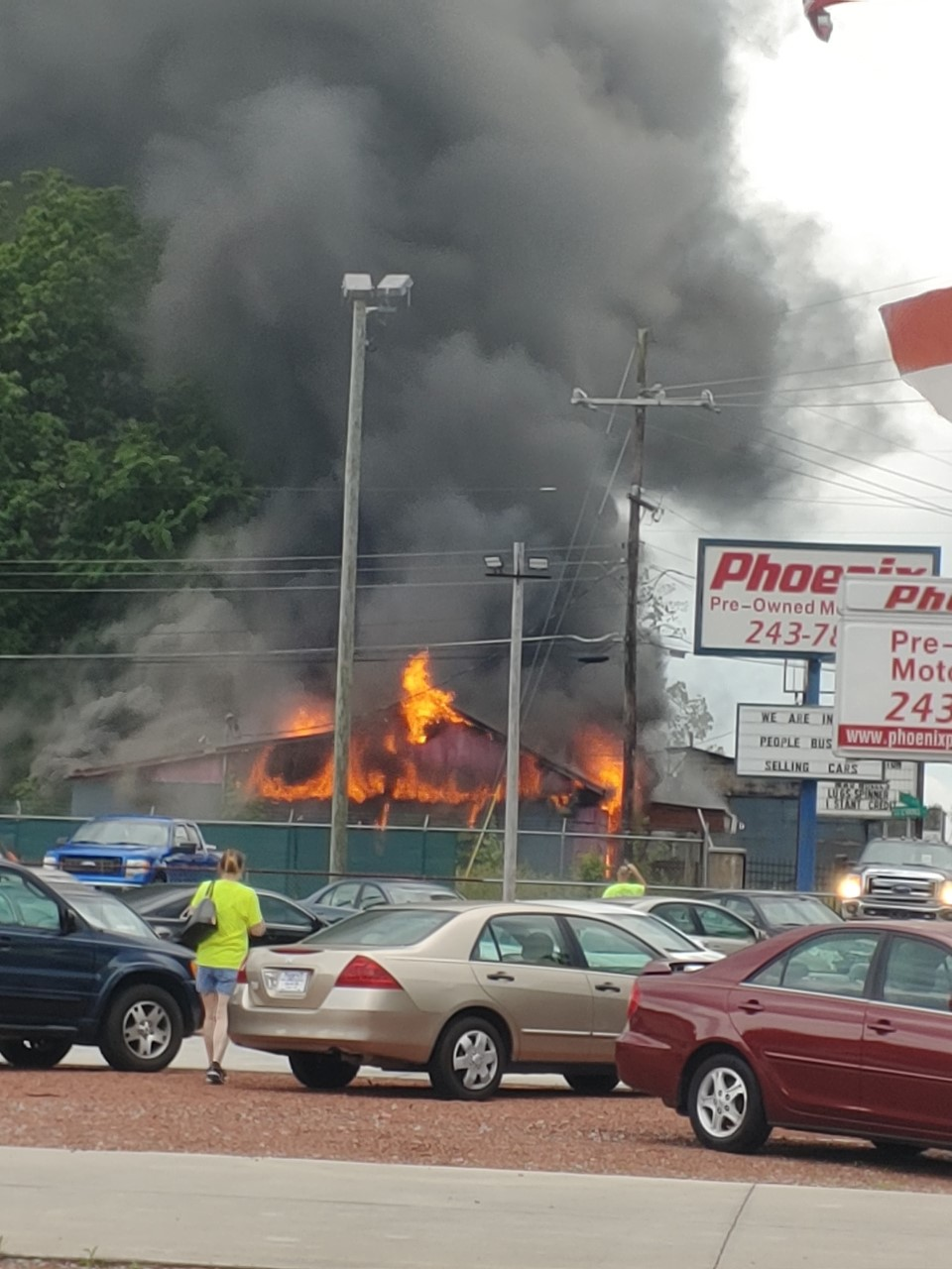 Lexington Fire crews working to extinguish blaze (credit: Zack Staley)