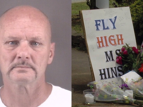 Left: Richard Moore | Right: Memorial set up for Holly Hinson