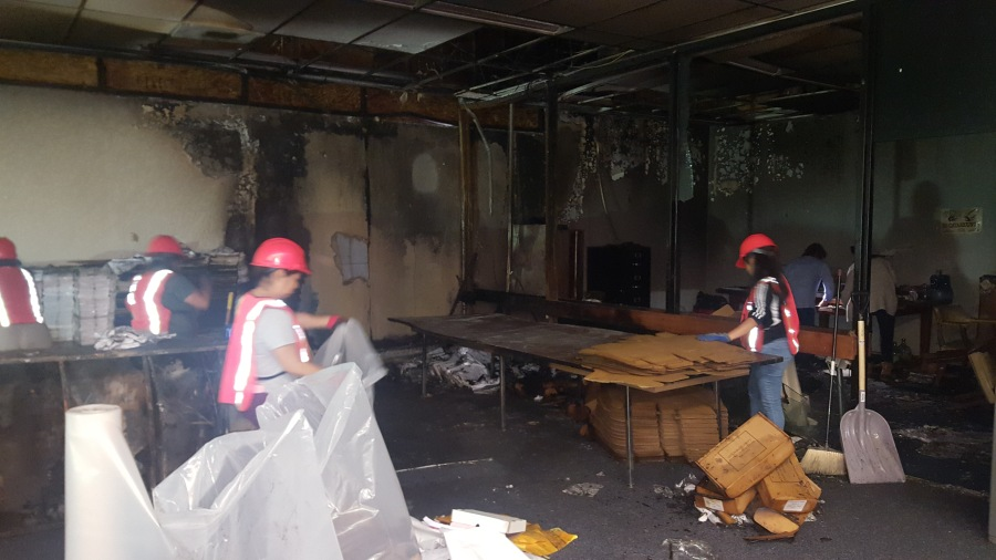 Fire causes damage at Board of Elections area in Guilford County Courthouse (Credit: Charlie Collicutt/Board of Elections)