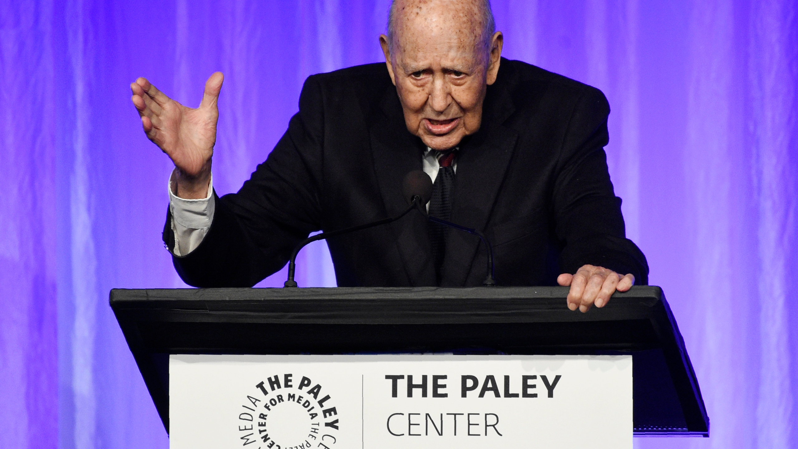 """Honoree Carl Reiner addresses the audience at """"The Paley Honors: A Special Tribute to Television's Comedy Legends"""" at the Beverly Wilshire Hotel, Thursday, Nov. 21, 2019, in Beverly Hills, Calif. (Photo by Chris Pizzello/Invision/AP)"""