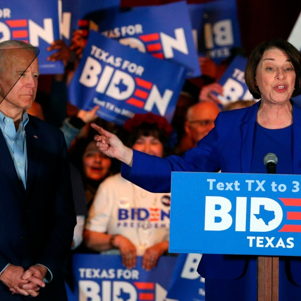FILE - In this Monday, March 2, 2020, file photo, Sen. Amy Klobuchar, D-Minn., endorses Democratic presidential candidate and former Vice President Joe Biden at a campaign rally in Dallas. On Thursday, June 18, 2020, Klobuchar announced she is dropping out of vice presidential contention and urging Biden to select a woman of color instead. (AP Photo/Richard W. Rodriguez, File)