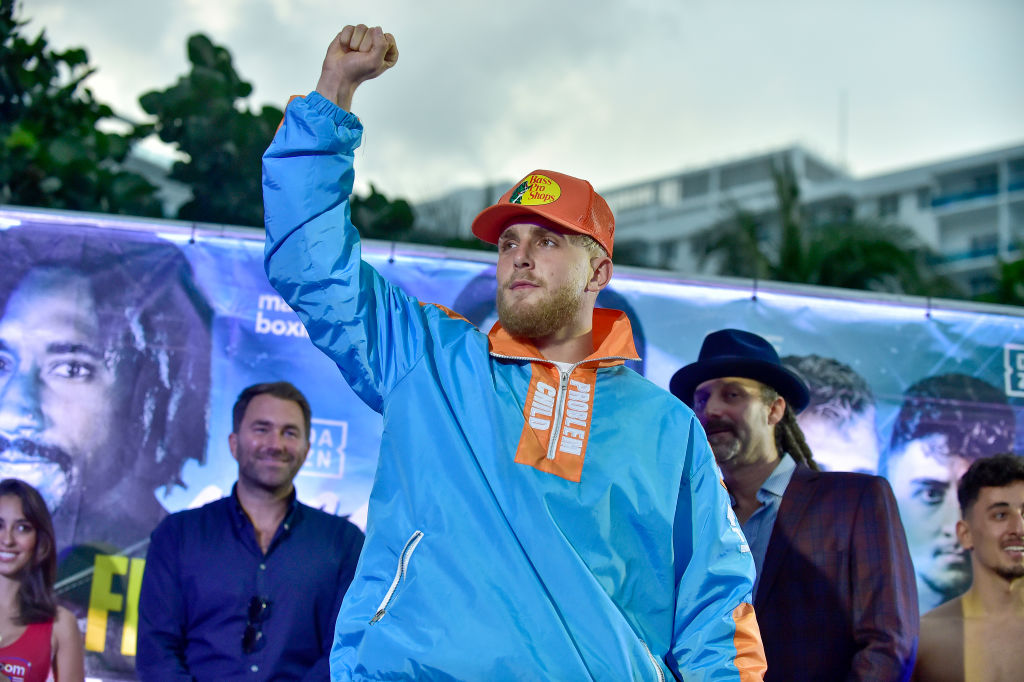 MIAMI, FLORIDA - JANUARY 29: Jake Paul during the weigh-in for Miami Fight Night on January 29, 2020 in Miami, Florida. Paul will fight AnEsonGib in a match at Meridian at Island Gardens in Miami on January 30. (Photo by Eric Espada/Getty Images)