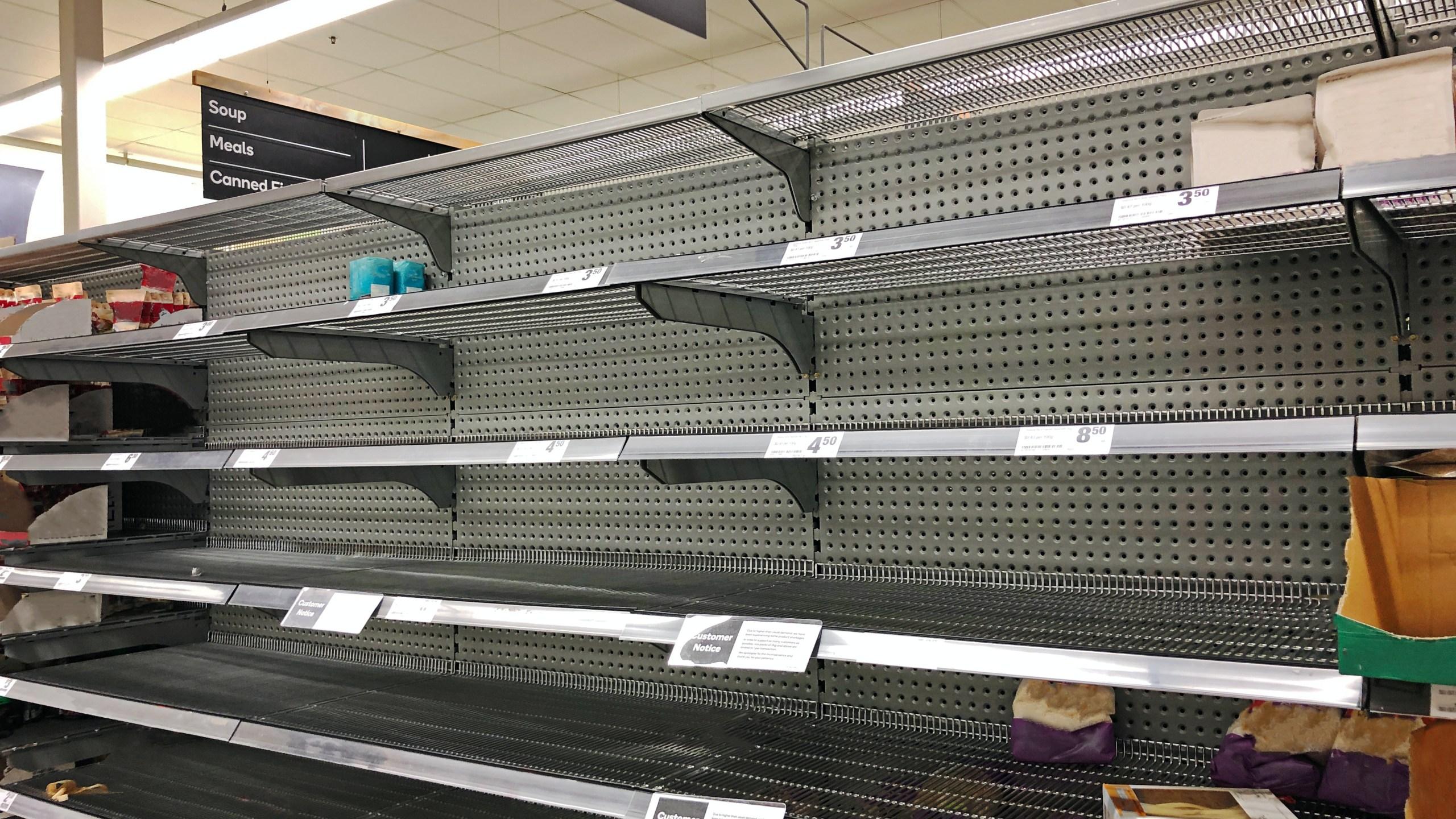 Empty grocery store shelf (Stock image/Getty)