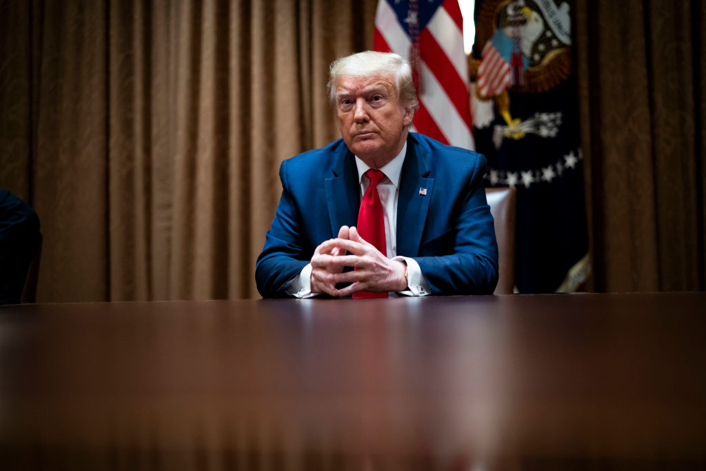 WASHINGTON, DC - JUNE 10: U.S. President Donald Trump speaks during a round table discussion with African American supporters in the Cabinet Room of the White House on June 10, 2020 in Washington, DC. (Photo by Doug Mills-Pool/Getty Images)