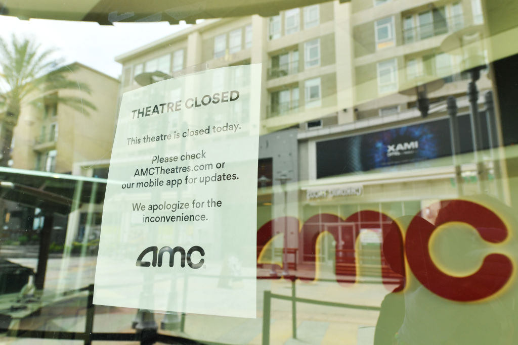BURBANK, CA - APRIL 17: Outside of AMC Burbank 16 on April 17, 2020 in Burbank, CA. Due to COVID-19, AMC Theatres were forced to close all global locations in March. (Photo by Amy Sussman/Getty Images)