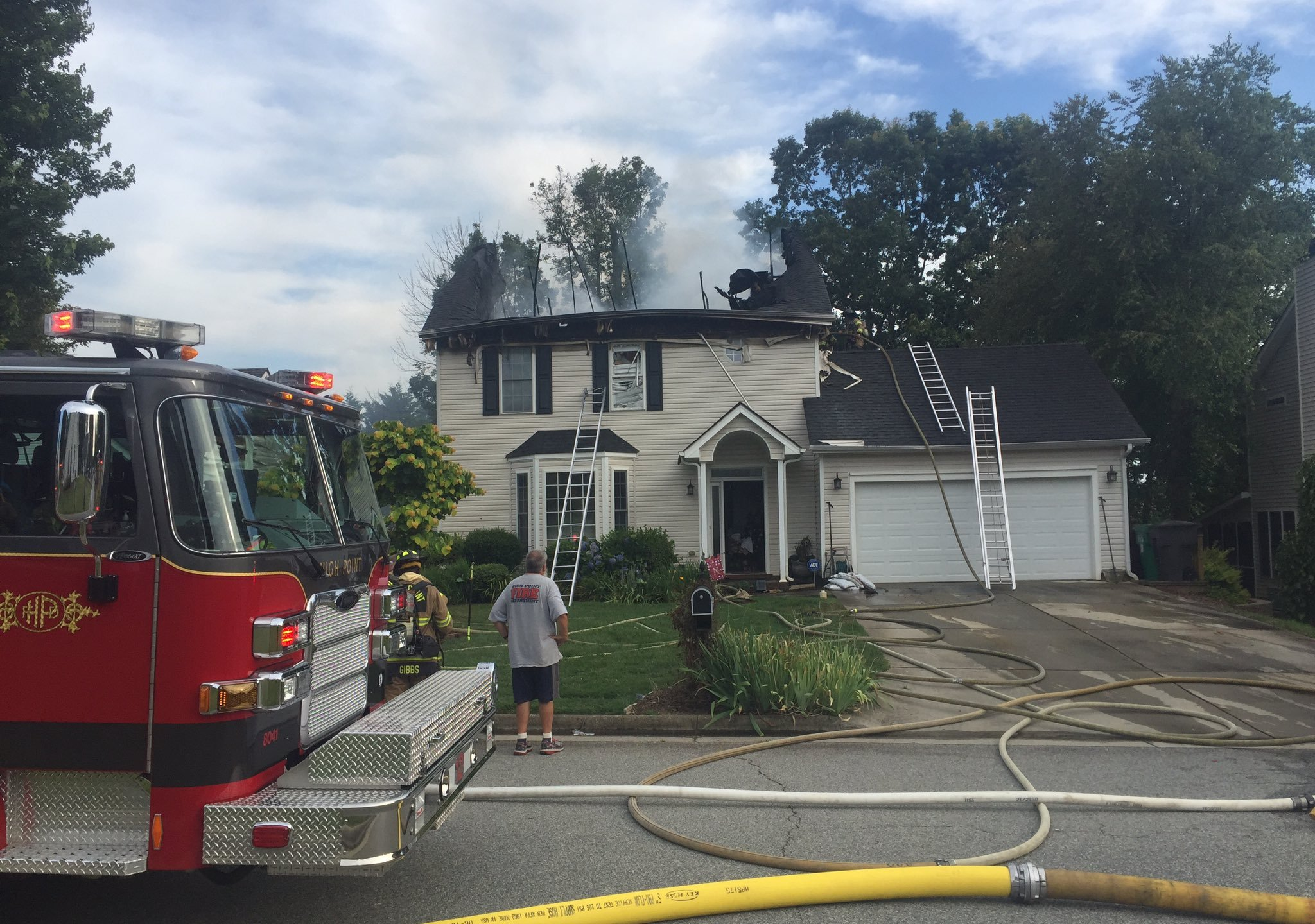 High Point firefighters working to put out fire