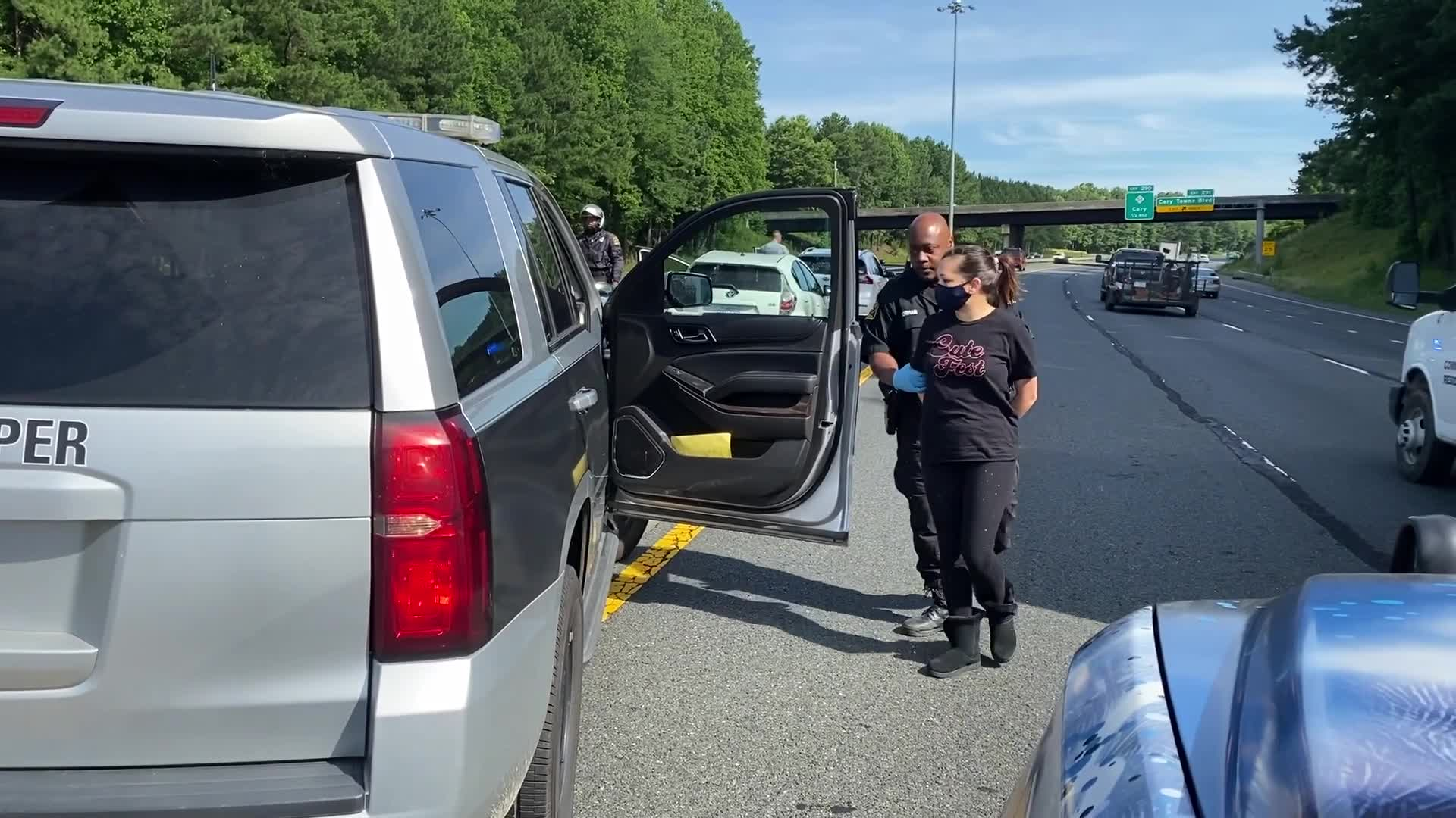 At least 2 detained after protest brings traffic to a crawl on I-40 in NC (WNCN)