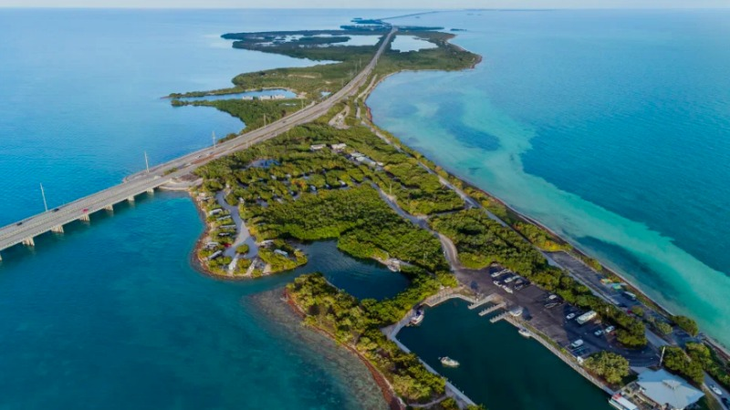 Highway leading out to Bahia Honda State Park in the Keys Islands in Florida. (Getty Images)
