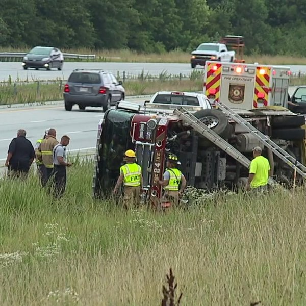 3 firefighters taken to the hospital after firetruck overturns on I-73 in Guilford County