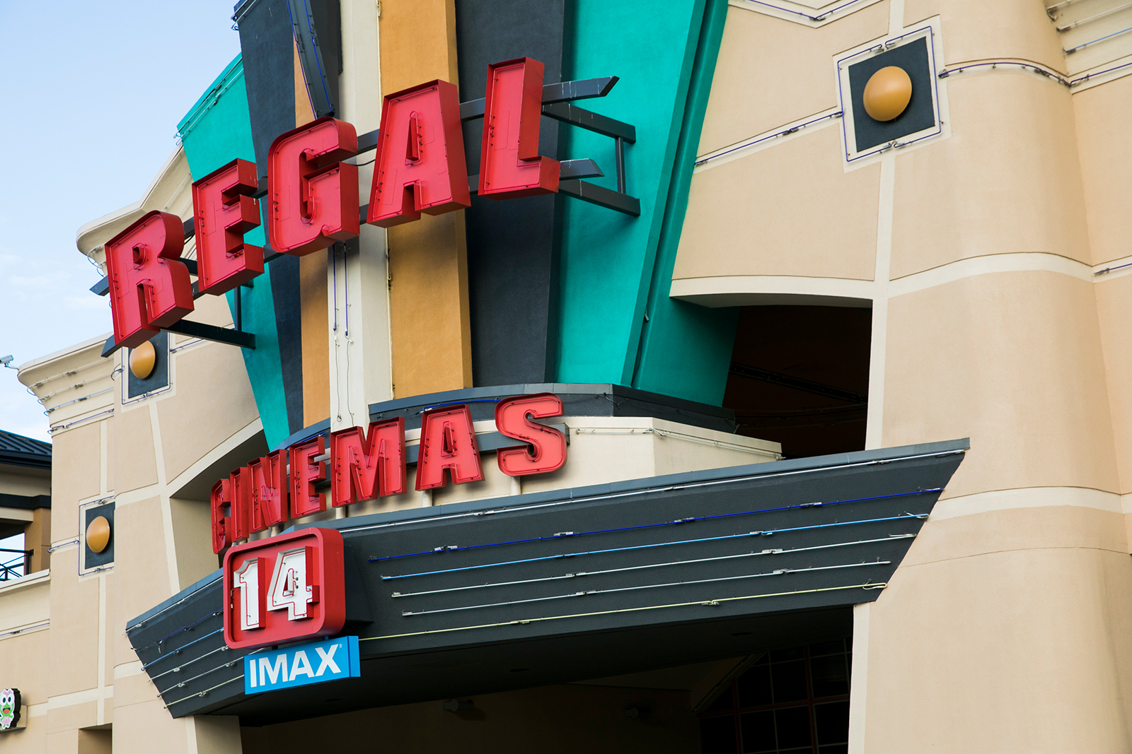 A logo sign outside of a Regal Cinemas movie theater location in Richmond, Virginia on May 13, 2020. (Photo by Kristoffer Tripplaar/Sipa USA)(Sipa via AP Images)