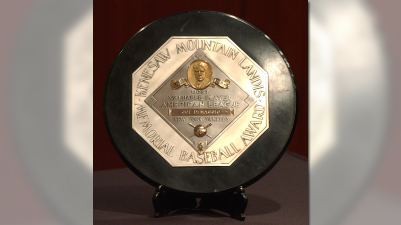 In this Jan. 22, 2006, file photo,a Joe DiMaggio 1947 MVP Award Plaque is displayed at a news conference in New York. The plaque features the name and image of Kenesaw Mountain Landis. (AP Photo/Jennifer Szymaszek, File)