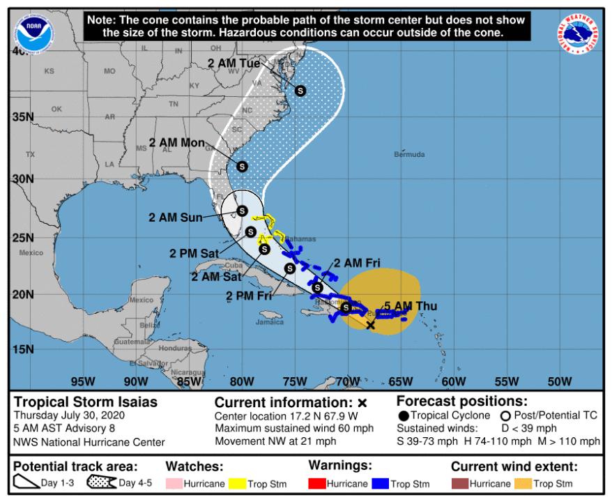 Tropical Storm Isaias forecast track as of 5 a.m. Thursday (National Hurricane Center)