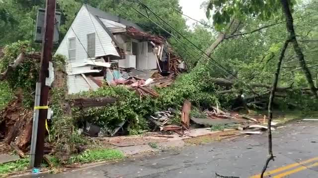 Tree falls on house in Winston-Salem during Thursday afternoon storms