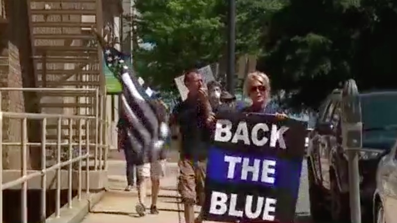 Demonstrators in Winston-Salem hold Back the Blue rally in support of law enforcement