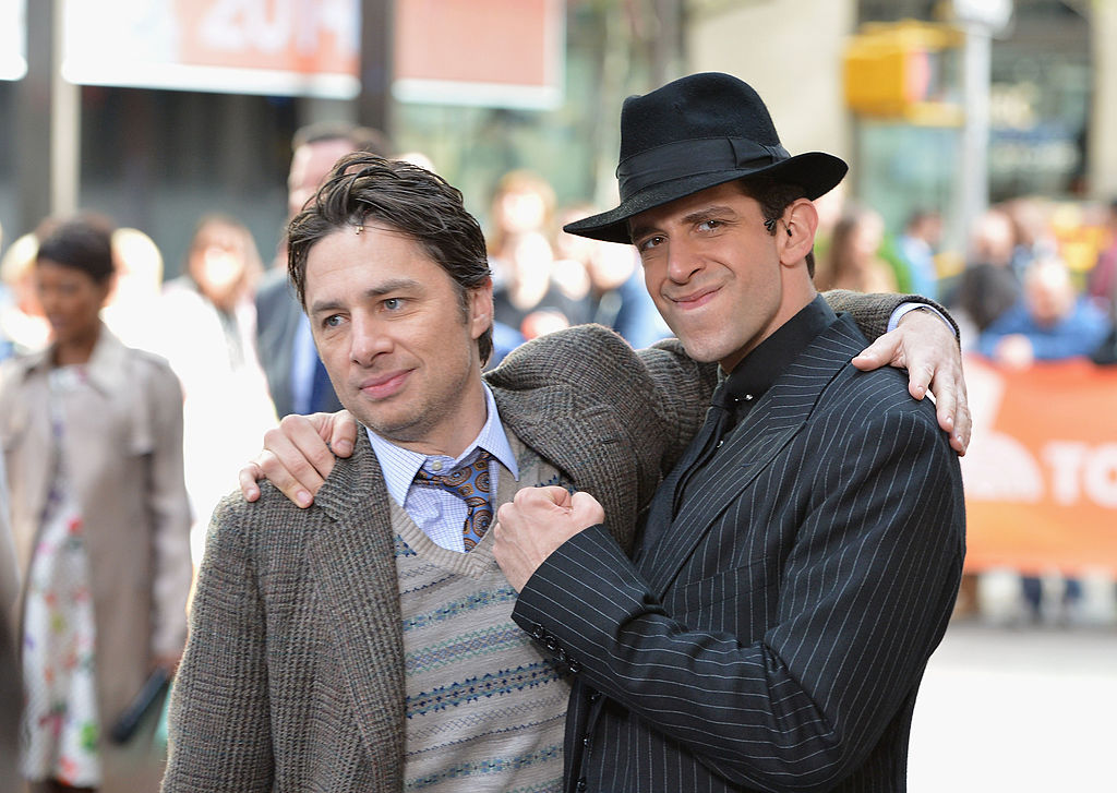 "NEW YORK, NY - MAY 06: Actors Zach Braff (L) and Nick Cordero of ""Bullets Over Broadway"" perform live on NBC's ""Today"" at TODAY Plaza on May 6, 2014 in New York City. (Photo by Slaven Vlasic/Getty Images)"
