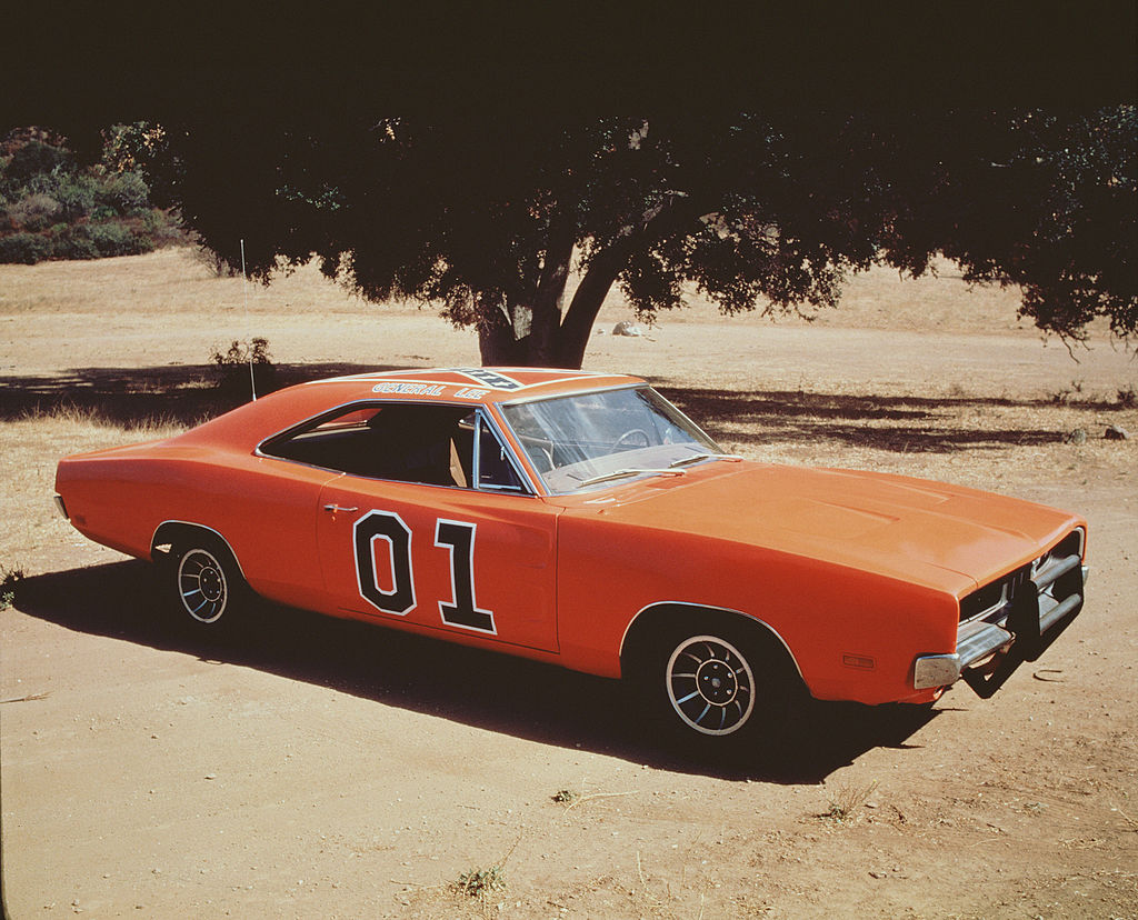 View of the 'General Lee,' the famous orange Dodge Charger emblazoned with the Confederate flag from the television series 'The Dukes of Hazzard,' August 1982. (Photo by CBS Photo Archive/Getty Images)