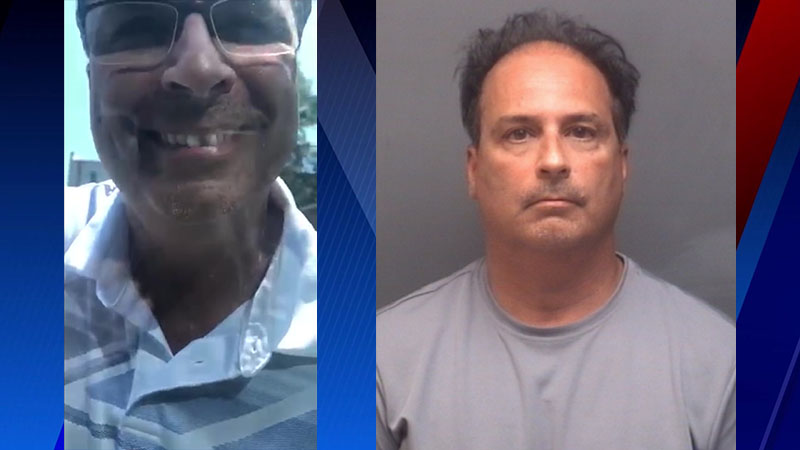 Left shows the man who spat on a woman's vehicle in a High Point road rage incident, as seen in the video submitted by the victim. Right shows the mugshot of Ronald Cohen.