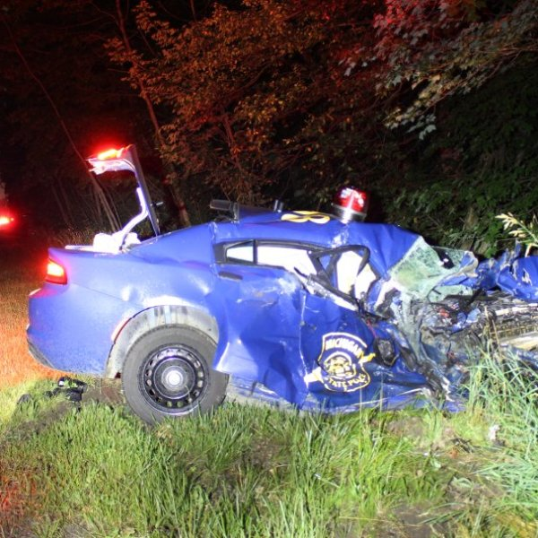 A Michigan State Police trooper from the Lakeview Post was involved in a two-vehicle, serious-injury cras