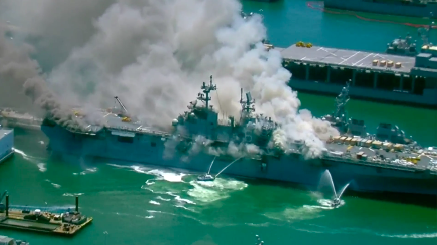 Multiple injuries reported as crews battle fire on Navy ship