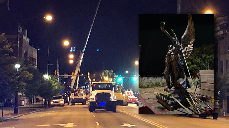 Salisbury Confederate monument comes down, to be moved to cemetery