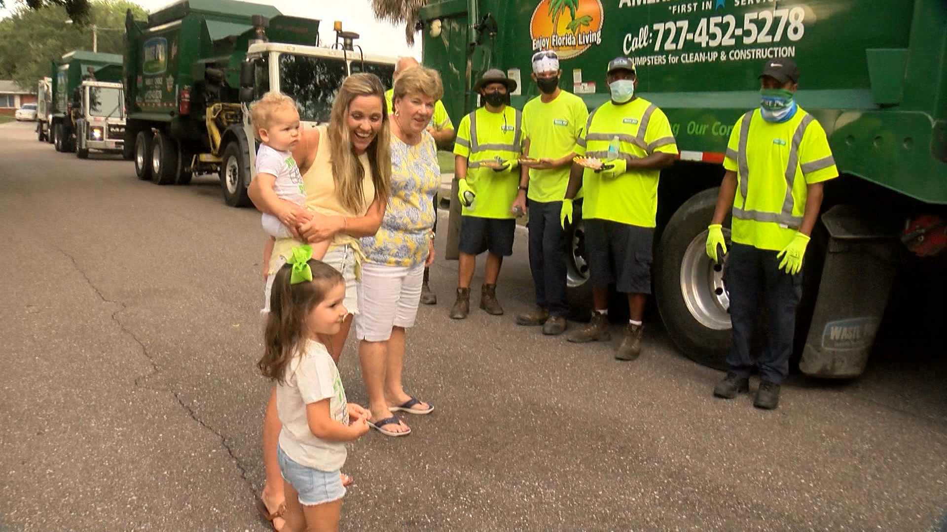 Florida sanitation workers surprise 4-year-old girl with garbage truck birthday parade