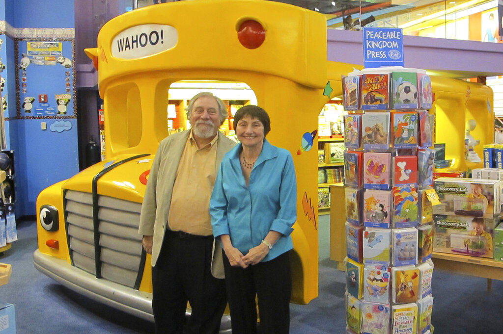 "Author Joanna Cole, right, and illustrator Bruce Degen. Cole, whose ""Magic School Bus"" books transported millions of young people on extraordinary and educational adventures, has died at age 75. With the ever maddening but inspired Ms. Frizzle, based in part on a teacher Cole had growing up, leading her students on journeys that explored everything from the solar system to underwater, ""Magic School Bus"" books have sold tens of millions of copies and were the basis for a popular animated TV series and a Netflix series. (Annabelle Helms/Scholastic via AP)"