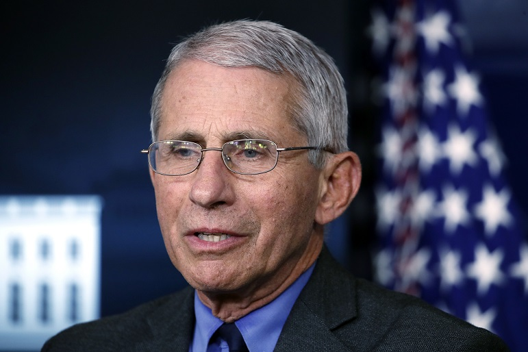 FILE - In this April 13, 2020 file photo, Dr. Anthony Fauci, director of the National Institute of Allergy and Infectious Diseases, speaks about the coronavirus in the James Brady Press Briefing Room at the White House in Washington. (AP Photo/Alex Brandon)