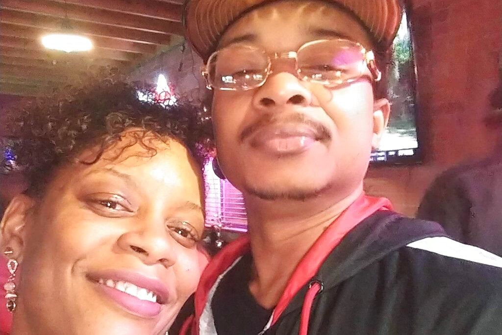 In this September 2019 selfie photo taken in Evanston, Ill., Adria-Joi Watkins poses with her second cousin Jacob Blake. He is recovering from being shot multiple times by Kenosha police on Aug. 23. (Courtesy Adria-Joi Watkins via AP)