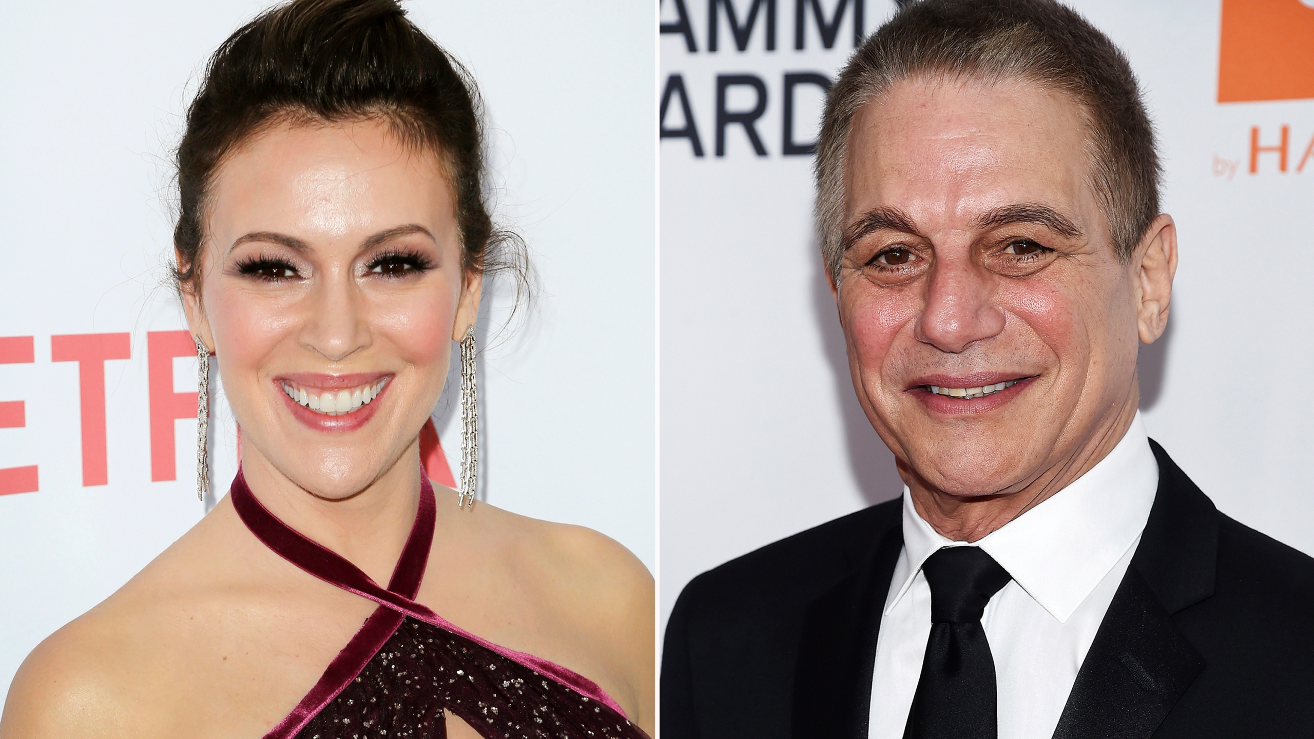 "In this combination photo, Alyssa Milano, left, arrives at the premiere of ""Insatiable"" on Aug. 9, 2018, in Los Angeles and Tony Danza arrives at the Pre-Grammy Gala and Salute To Industry Icons on Jan. 27, 2018, in New York. A sequel to ""Who's the Boss?"" is in the works at Sony Pictures Television, with Danza and Milano set to reprise their father-daughter roles from the 1980s-'90s sitcom. (AP Photo)"