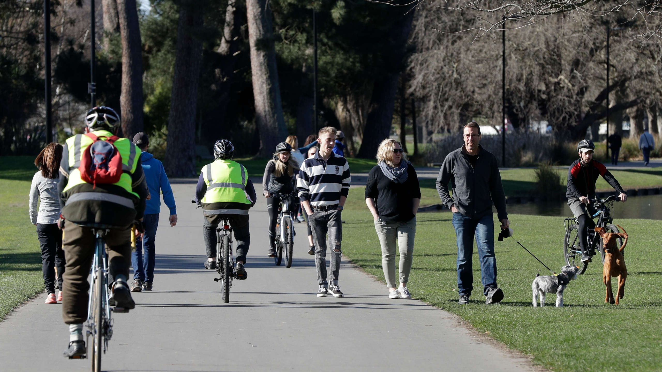 Residents exercise at Hagley Park in Christchurch, New Zealand, Sunday, Aug. 9, 2020. New Zealand on Sunday marked 100 days since it stamped out the spread of the coronavirus, a rare bright spot in a world that continues to be ravaged by the disease. (AP Photo/Mark Baker)